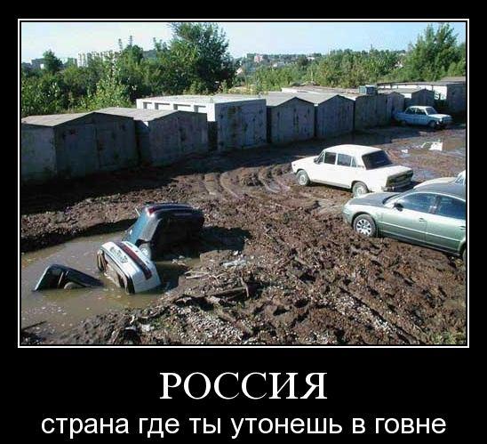 Демотиватор: Россия - страна где ты утонешь в говне